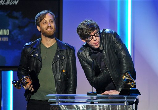 Dan Auerbach, left, and Patrick Carney of the Black Keys accept the award for best rock album