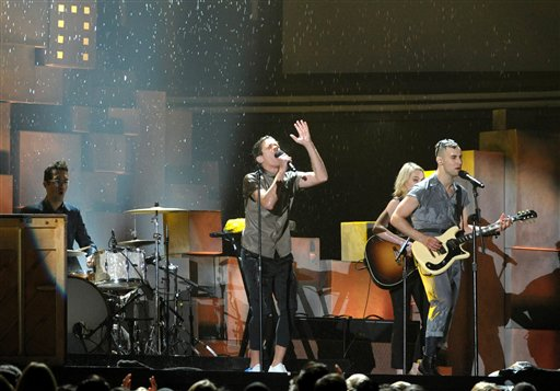 Musical group fun. perform at the Grammy Awards on Sunday in Los Angeles. They took major awards song of the year for