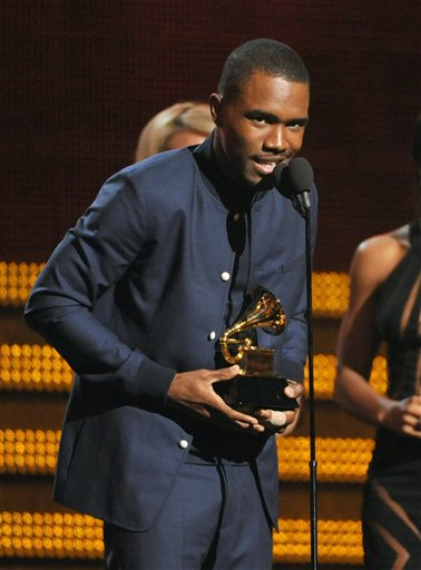Frank Ocean accepts the best urban contemporary album award for