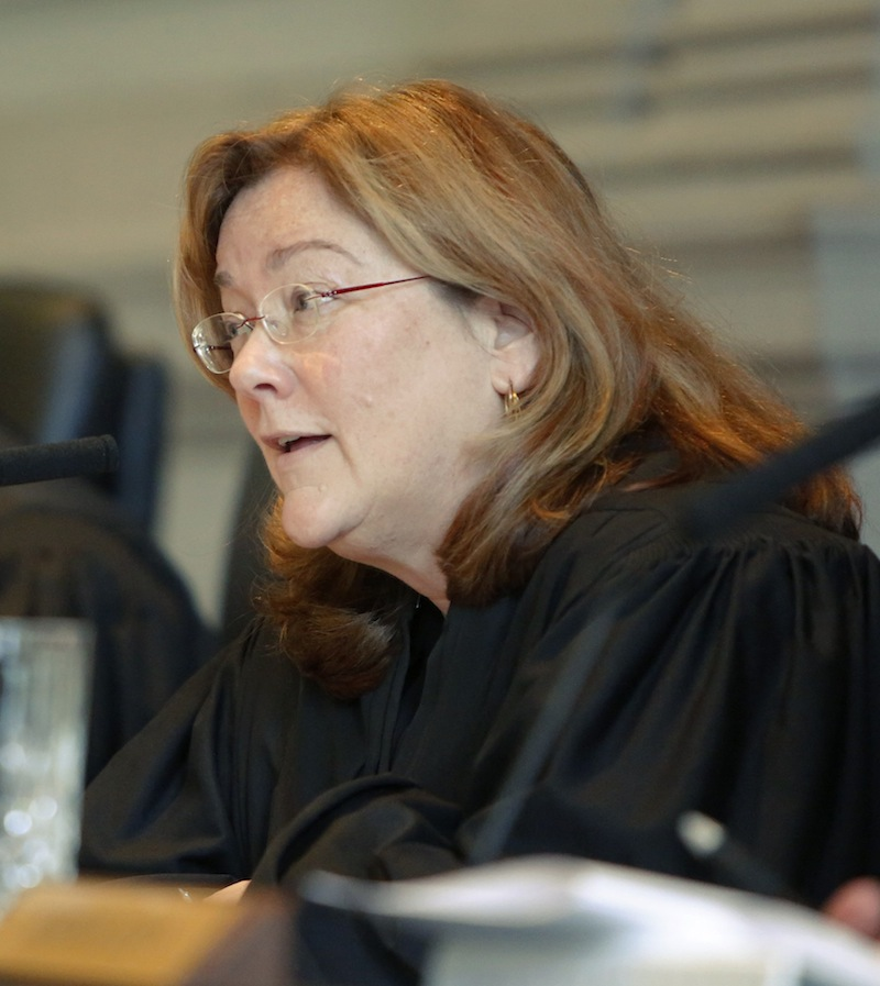 Leigh Saufley, Chief Justice of the Maine Supreme Judicial Court asks a question of attorney Daniel Lilley on Wednesday, February 13, 2013. The court heard arguments in the appeal by prosecutors on the dismissal of 46 invasion-of-privacy charges against Mark Strong, Sr. in the Kennebunk prostitution case.