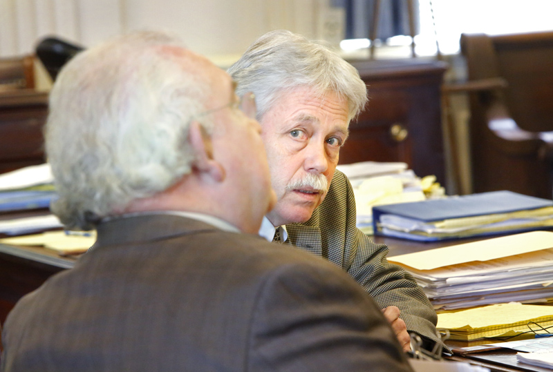 Mark Strong Sr. talks with his attorney, Dan Lilley, in York County Superior Court on Tuesday.