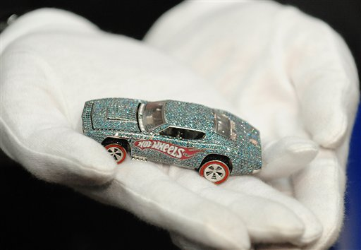 Hot Wheels kicks off its 40th anniversary with an unveiling of a diamond-encrusted car at the New York Toy Fair in a Feb.15, 2008, file photo. Mattel is looking for ways to reinvigorate big brands like Hot Wheels that generates about 15 percent of its total sales.