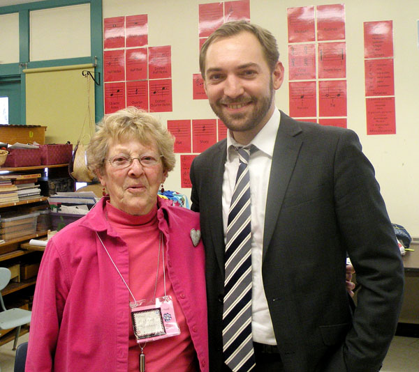 Madame Suzanne Fournier-LeBelle Hedrick, assistant with the Maine French Language Heritage Program, appears with Benoit Le Devedec, a guest from the French Heritage Language Program in New York, in this Feb. 13, 2013, photo.