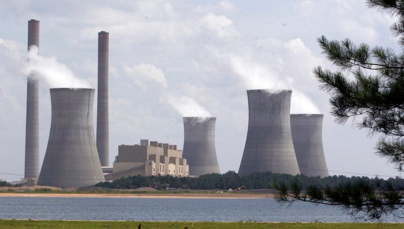 In this July 10, 2007, file photo, the coal-fired Plant Scherer in operation at Juliette, Ga. Nine northeastern and mid-Atlantic states including Maine agreed Thursday to strengthen existing limits on carbon dioxide emissions from power plants that burn fossil fuels. (AP Photo/Gene Blythe, File)