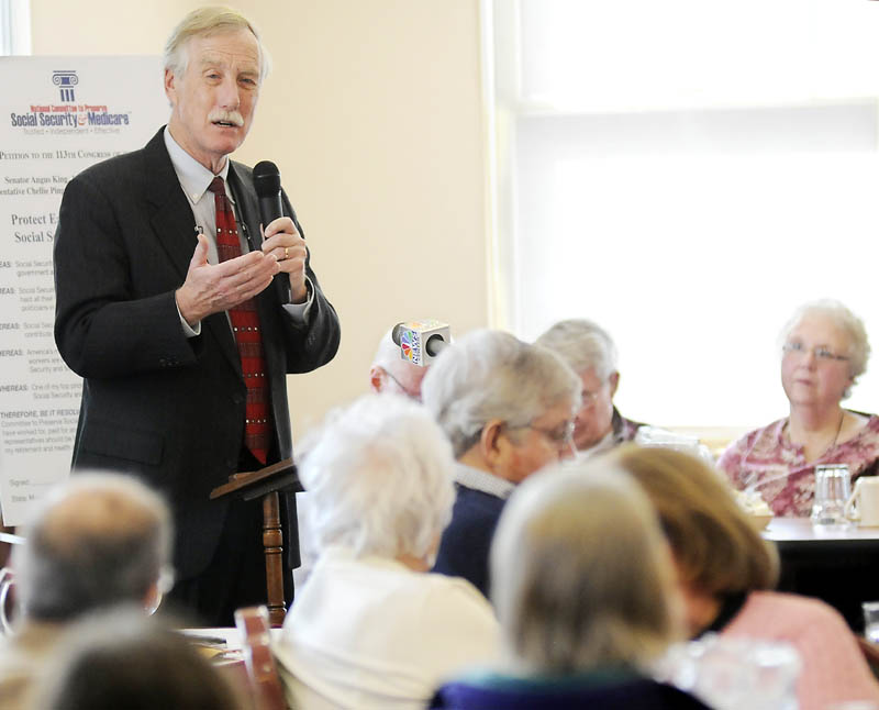 US Senator Angus King I-Maine addresses senior citizens at Senior Spectrum Wednesday in Hallowell. King told the crowd that he won't support privatizing Social Security or instituting a voucher program for Medicare.