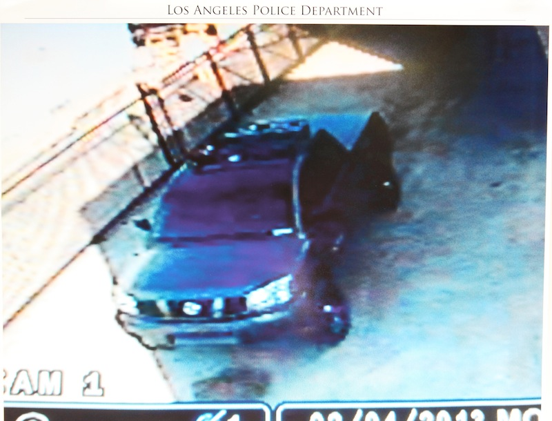 This undated photo released by the Los Angeles Police Department shows a security camera video grab of the vehicle believed to be driven by suspect Christopher Dorner, a former Los Angeles officer.