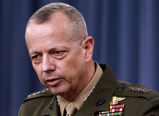 Marine Gen. John Allen speaks during a news conference at the Pentagon in this March 26, 2012, photo.