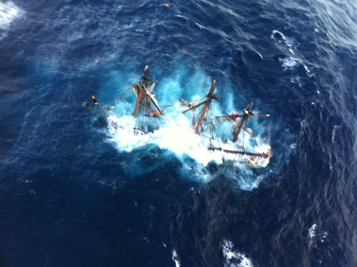 This undated file photo provided by the U.S. Coast Guard shows the HMS Bounty, a 180-foot sailboat, submerged in the Atlantic Ocean during Hurricane Sandy approximately 90 miles southeast of Hatteras, N.C., Monday, Oct. 29, 2012. Officials from the Coast Guard and NTSB are holding eight days of hearings on the sinking. (AP Photo/U.S. Coast Guard, Petty Officer 2nd Class Tim Kuklewski)
