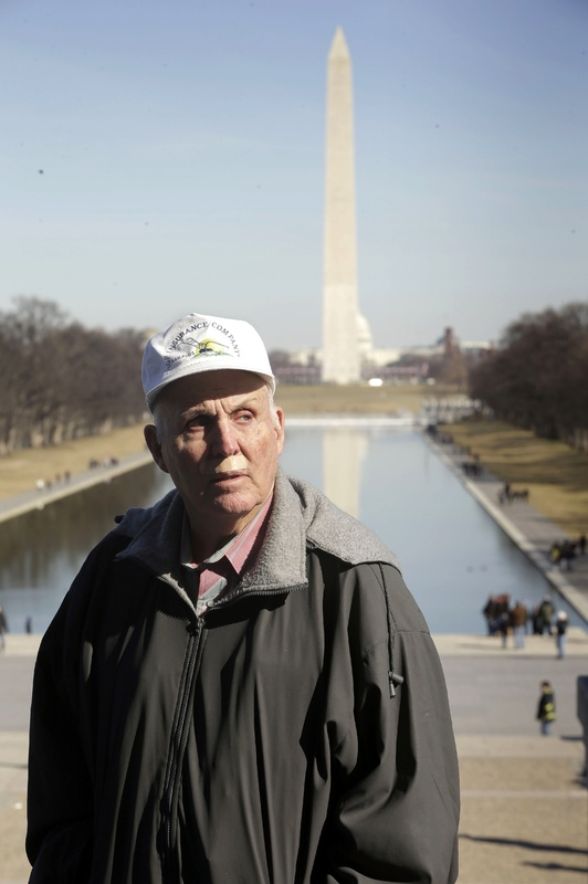 Indiana farmer Vernon Hugh Bowman, 75, visits the Lincoln Memorial in Washington Monday. On Tuesday the Supreme Court will hear arguments in a case between Bowman and agribusiness seed-giant Monsanto.
