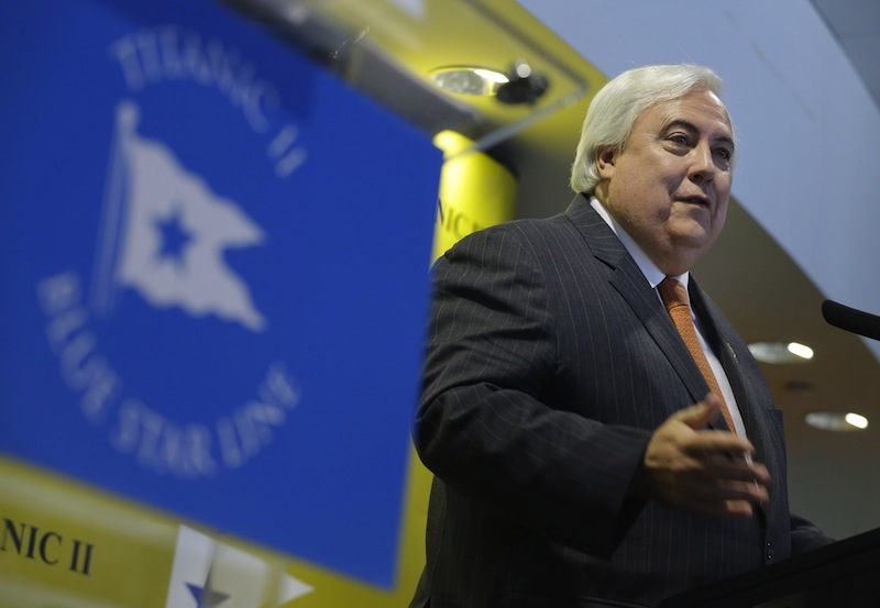 Australian billionaire Clive Palmer speaks during a news conference about his intention to build the Titanic II in New York, Tuesday, Feb. 26, 2013. Palmer is planning to build the ship in China and it is scheduled to sail in 2016. (AP Photo/Seth Wenig)