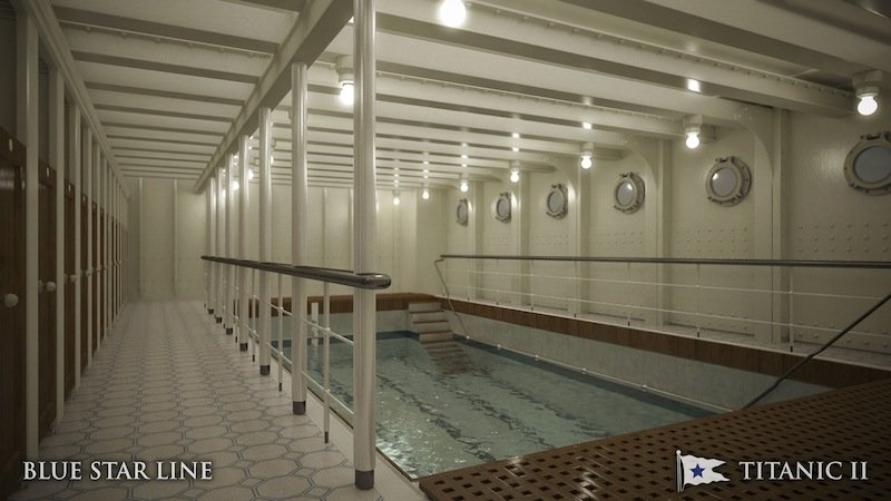 In this rendering provided by Blue Star Line, the swimming pool on the Titanic II is shown. The ship, which Australian billionaire Clive Palmer is planning to build in China, is scheduled to sail in 2016. The ship, which Australian billionaire Clive Palmer is planning to build in China, is scheduled to sail in 2016. Palmer said his ambitious plans to launch a copy of the Titanic and sail her across the Atlantic would be a tribute to those who built and backed the original. (AP Photo/Blue Star Line)