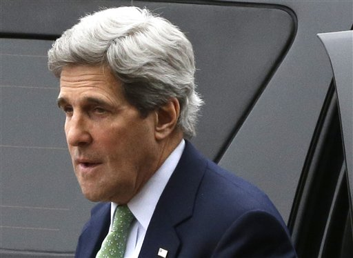 Secretary of State John Kerry arrives at the Foreign Ministry in Paris on Wednesday. The U.S. is moving closer to direct involvement in Syria's civil war with the delivery of non-lethal assistance directly to the rebels fighting President Bashar Assad's regime.