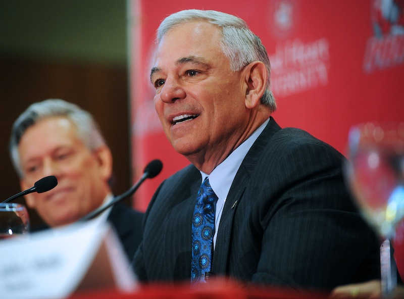 Bobby Valentine speaks during news conference at Sacred Heart University in Fairfield, Conn., Tuesday, Feb. 26, 2013. Valentine has been named executive director of Intercollegiate Athletics at Sacred Heart. (AP Photo/The Connecticut Post, Brian A. Pounds) Brian A. Pounds;pounds;connecticut post;connpost.com