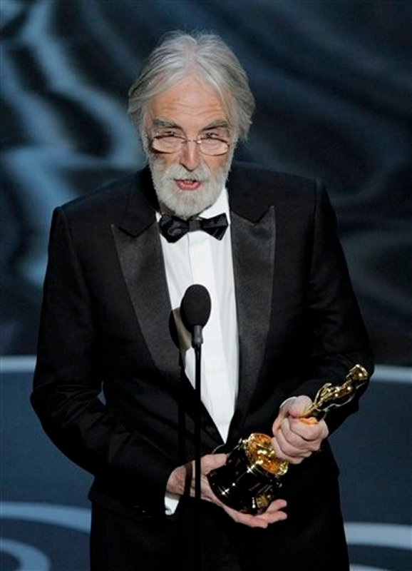 Michael Haneke accepts the award for best foreign language film for