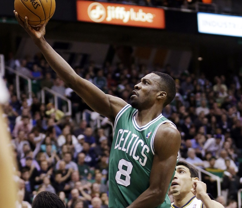 Boston's Jeff Green goes strong to the basket past Utah during the Celtics' 110-107 overtime win at Boston on Monday.