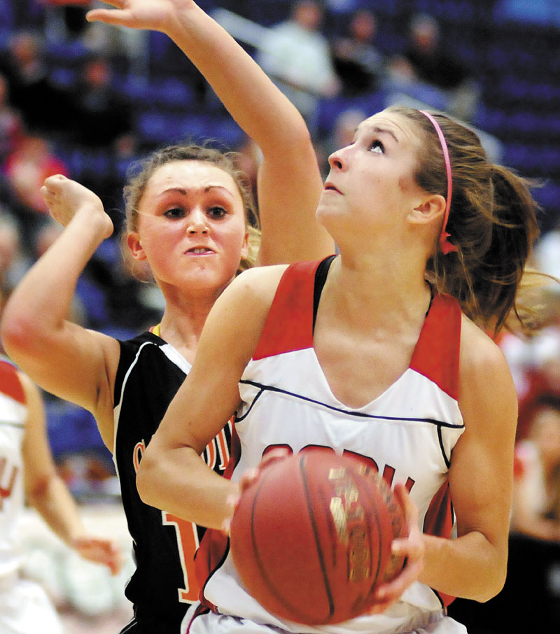 BIG NUMBERS: Cony High School's Josie Lee, right, led the KVAC A in rebounding. She leads the Rams into a quarterfinal matchup with top-ranked Edward Little today at the Augusta Civic Center.