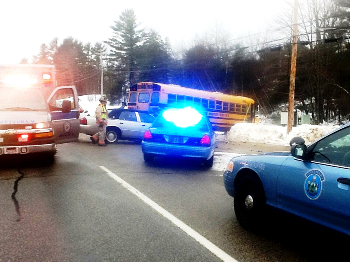 Emergency personnel at the accident scene on Route 202 Tuesday morning. Authorities say the intersection has been the scene of several serious accidents over the past year. Photo provided by Lebanon Rescue Department.