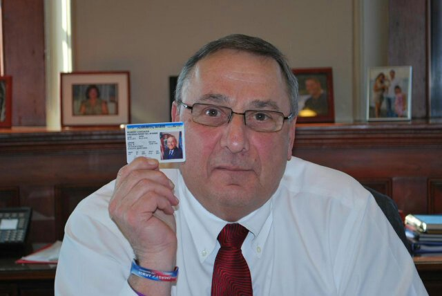 Gov. Paul LePage displays his concealed-carry permit in a photo posted to his Twitter account Thursday afternoon.