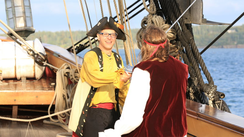 "Geoff Edgers, host of the new Travel Channel show ""Edge of America"" dressed in his pirate best at the Eastport Pirate Festival in Eastport last September. The episode on Maine adventures begins airing at 11 p.m. Tuesday."