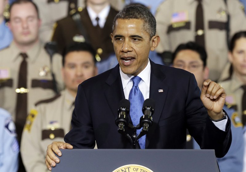 President Obama speaks about his plans to address gun violence Monday at the Minneapolis Police Department's Special Operations Center.