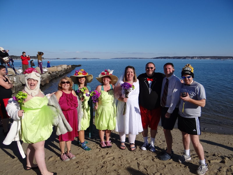 Beth Dimond, fourth from right, public affairs coordinator for Natural Resources Council of Maine, convinced fiance Chris Comeau and friends Janine Palmer, Christine Huot, Francesca DeSanctis, Jessica Creedon, Kim Cowperthwaite and Jason Lanoie to join her for NRCM's 2012 polar dip.
