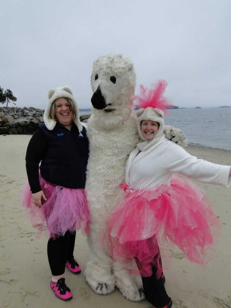 Beth Dimond and Janine Palmer pose with a friend before the Natural Resources Council of Maine's 2011 polar dip.