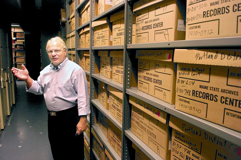 "State Archivist David Cheever, above, conducts a tour of some of the archives' storage areas in Augusta in 2007. ""We believe we have a public document that is being offered for sale in another state and we believe it is a Maine document that belongs here,"" Cheever said Tuesday, referring to the online auction of an original, hand-signed order by President Lincoln establishing Maine's first military draft."