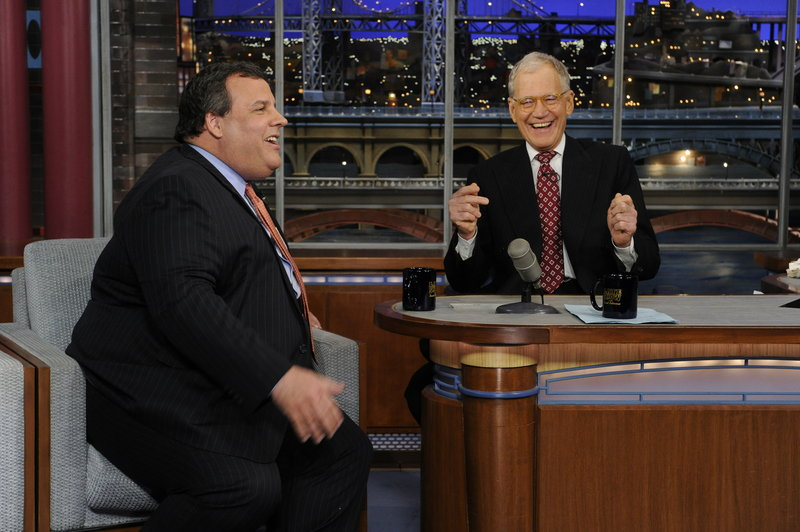 "New Jersey Gov. Chris Christie, left, appears Monday on ""Late Show with David Letterman."" Christie said Wednesday a doctor who remarked on his weight on CNN should ""shut up."""