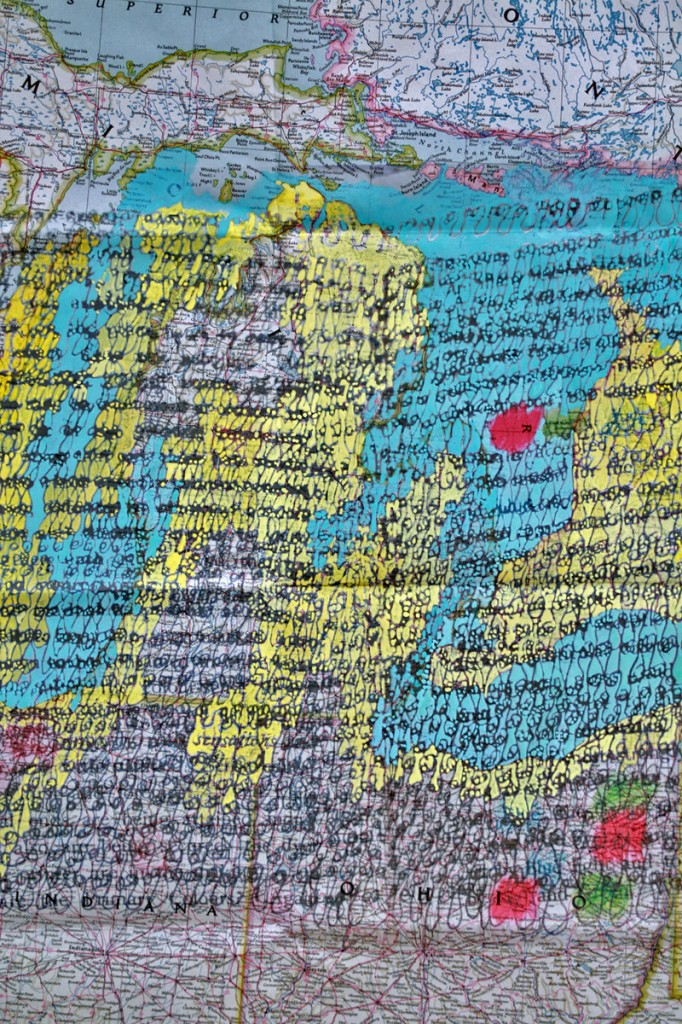 """Writing, Page from Atlas With/In,"" 2011, ink, gouache on paper."