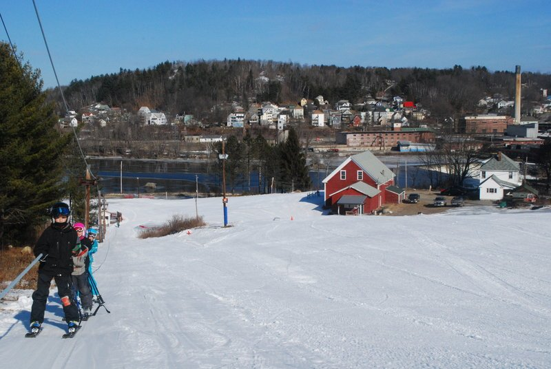 With the defunct mills along the Androscoggin River a reminder that this is an unpretentious place, Spruce Mountain has long kept afloat on a shoestring budget and a simply priceless robust army of volunteers committed to community skiing.
