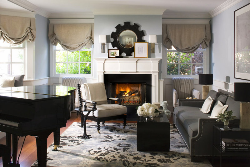 A living room designed by Betsy Burnham employs an icy palette to create winter-inspired style that looks good during any season.