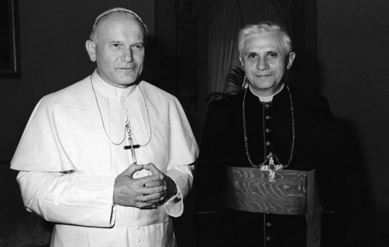 Pope John Paul II, left, is shown with then-Cardinal Joseph Ratzinger of Munich, who would go on to be elected to succeed John Paul II on April 19, 2005, as Benedict XVI.