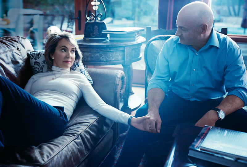 Former U.S. Rep. Gabrielle Giffords and her husband, Mark Kelly, at home in Tucson, Ariz.