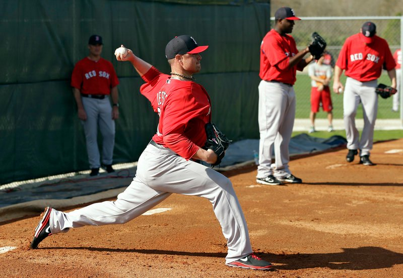 Red Sox starting pitcher Jon Lester throws a bullpen session at Spring Training in Florida on Wednesday.