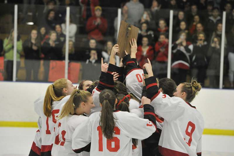 To the victor … goes the plaque, and the victor Wednesday night was Scarborough, winning the West. One game remains – the state final Saturday night against Greely.