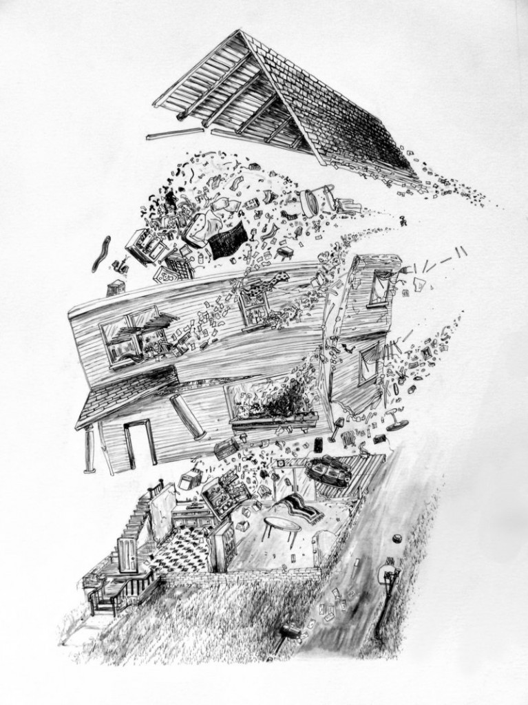"""Triumph of the Vanishing Point"" by Jeff Badger (American), ink on paper."