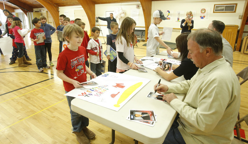 Jerry Remy, part of NESN's team of Red Sox announcers, made an appearance at St. Brigid's School in Portland in 2013. Remy announced Monday he has suffered a cancer relapse.
