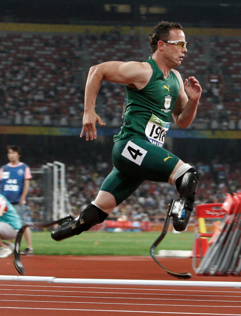 Oscar Pistorius of South Africa competes in the men's 400-meter final at the Beijing 2008 Paralympic Games in Beijing, China.
