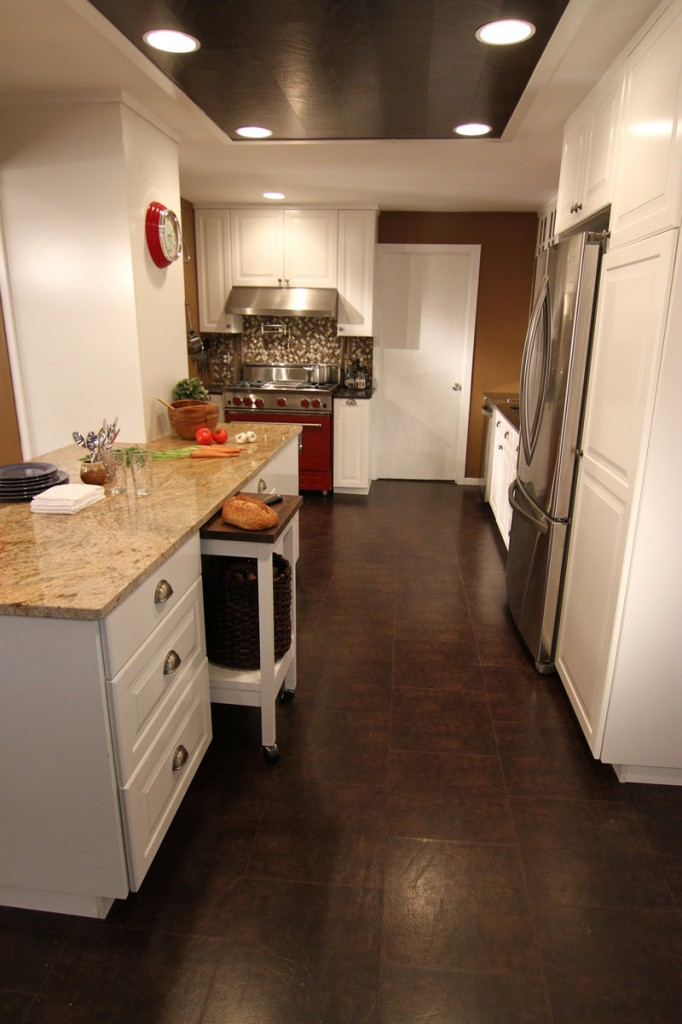 Bonded leather can go wherever wood can – here it's on a kitchen floor.
