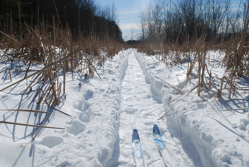 Low water levels precluded the moving of goods on the Peterson Canal, but when frozen at least it can be traveled by cross-country skiers and snowshoers.