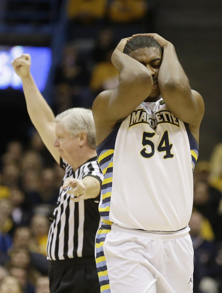 Marquette's Davante Gardner reacts as he's called for a foul against Pittsburgh during Saturday's game in Milwaukee, won by the Golden Eagles, 79-69.