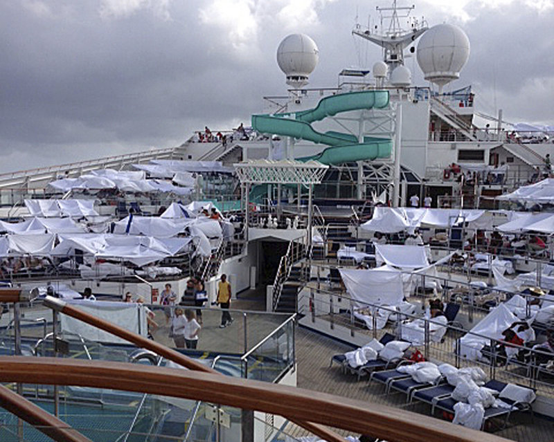 A photo provided by a passenger shows makeshift tents on the deck of the Carnival Triumph cruise ship at sea in the Gulf of Mexico.