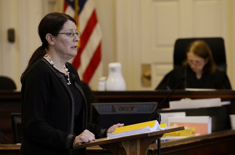 York County Deputy District Attorney Justina McGettigan delivers her opening statements on Wednesday, Feb. 20, 2013.