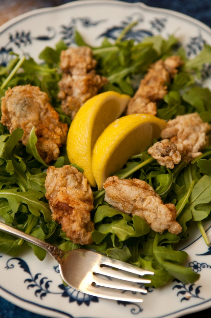 Fried oyster salad.