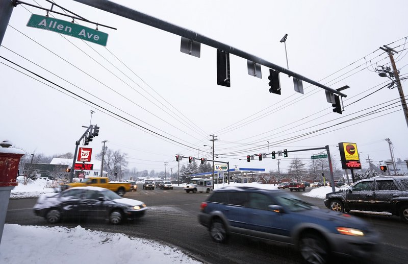 "The intersection of Allen and Washington avenues, shown in January, makes the list of top crash locations in Portland. ""We have a lot of tricky intersections and a lot of aggressive drivers,"" said Jeremiah Bartlett, the city's transportation systems engineer."