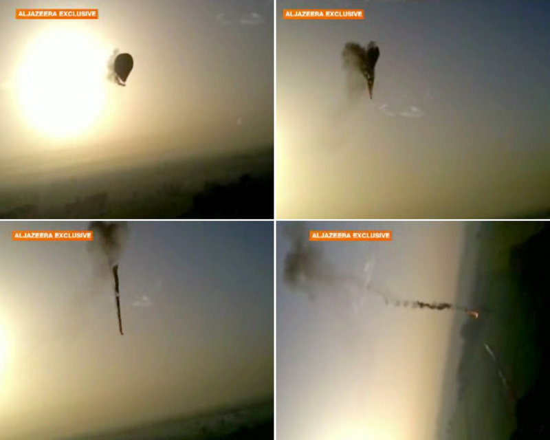 Images from amateur video provided by Al-Jazeera show the tragedy unfolding. The video is available below.