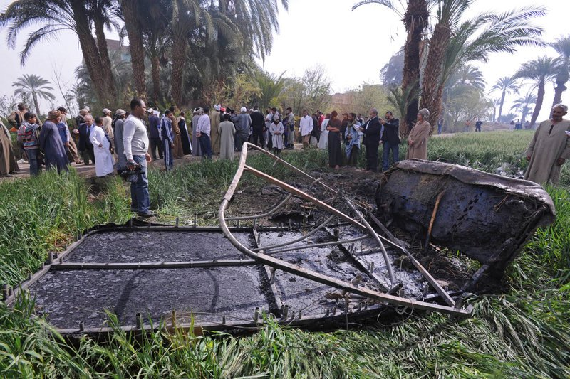 Remains of the balloon's burned gondola lie outside al-Dhabaa village Tuesday.