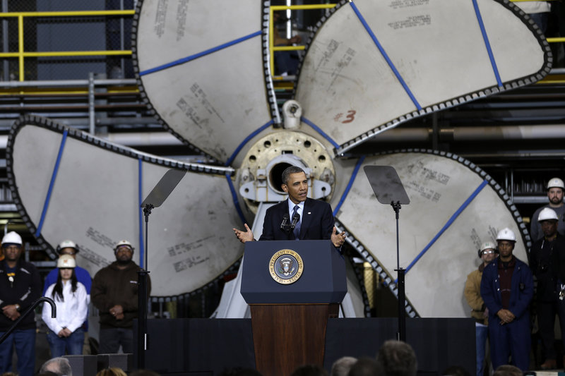 President Obama talks at Newport News (Va.) Shipbuilding Tuesday about looming automatic cuts. The site will sit idle, he said, if $85 billion in across-the-board cuts goes through.