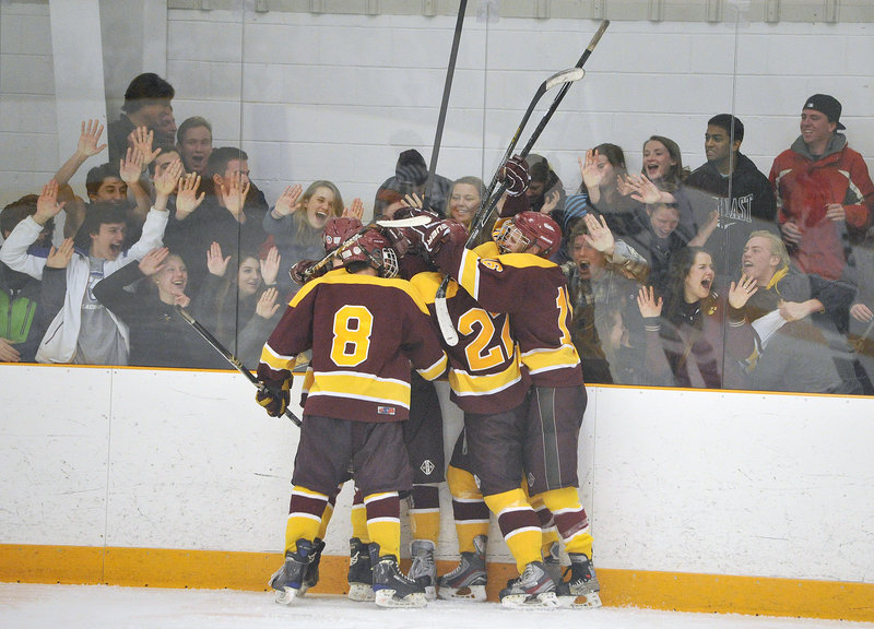 The fans were happy, the players were happy and for Cape Elizabeth, the whole night ended on a happy note Tuesday as the Capers defeated Yarmouth 4-3 at Travis Roy Arena to advance to the Western Class B schoolboy hockey quarterfinals.