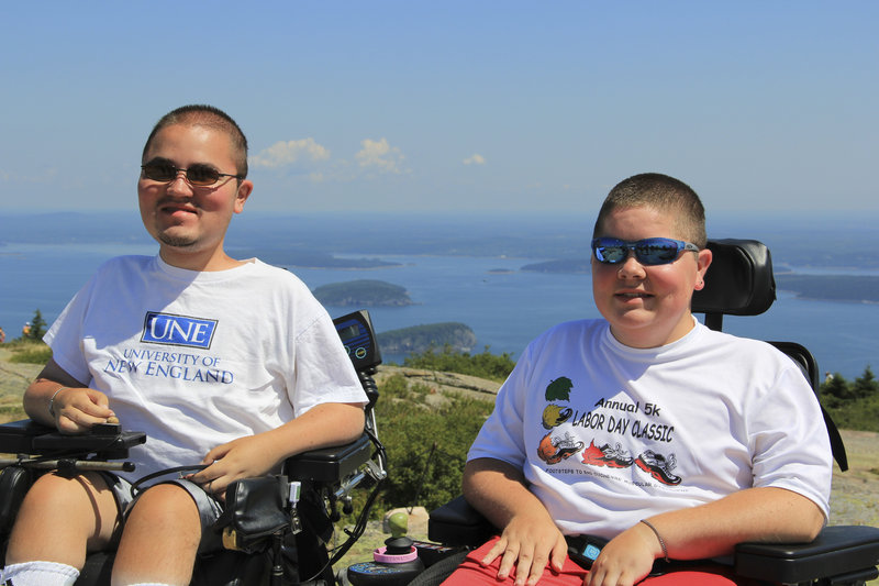 Matthew Denger, 20, and his brother, Patrick, 18, on Cadillac Mountain on Mount Desert Island, Maine in August 2012.